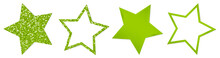 Set Vier Gedrehte Hellgrüne Sterne Glitter Und Glanz