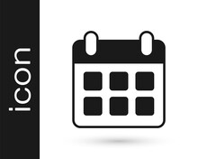 Black Travel Planning Calendar And Airplane Icon Isolated On White Background. A Planned Holiday Trip. Vector