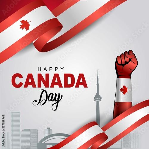 Fototapeta premium happy Canada day greetings. vector illustration design