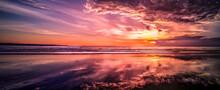 Purple Sunset At The Beach