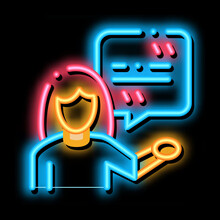 Actor Woman With Replica Neon Light Sign Vector. Glowing Bright Icon Actor Woman With Replica Sign. Isolated Contour Symbol Illustration