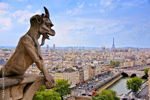 Fotografie, Obraz Notre Dame gargoyle overlooking the Paris cityscape with Siene River and Eiffel