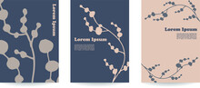 A Set Of 3 Hand-drawn Vector Leaves Backgrounds In Beige Colors. Mid-century Style, Natural Herbs, Organic Drawing. Ideal For Beauty And Cosmetics Brands. Flat Lay Posters.