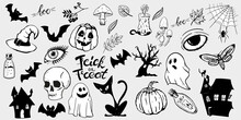 Halloween Hand-drawn Symbols Set. Vintage Sketches Of The Spooky Night Of Halloween. Skull, Pumpkin, Bottles, And Other Elements Of All Saints Night.