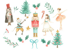 Nutcracker Watercolor Illustration Christmas Set