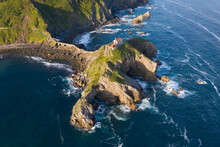 Aerial View Of The Island And The Gaztelugatxe Temple. Northern Spain In Summer Manmade Way To Small Isle On The Atlantic Shore In Biscay Region. Beautiful Sunny Morning.