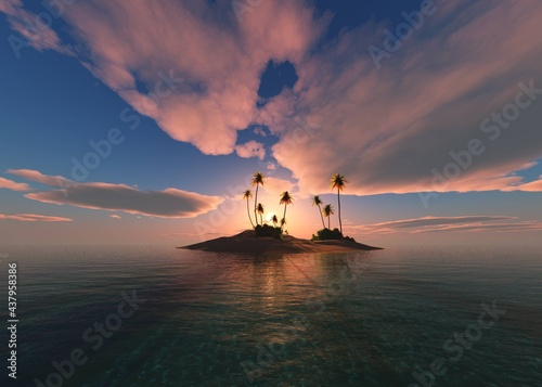Beautiful sunset over a tropical island with palm trees, uninhabited island at sunset, palm trees on the beach in the sun, 3D rendering