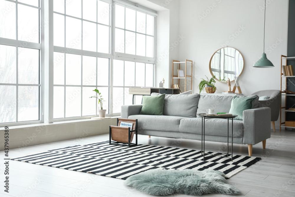 Leinwandbild Motiv - Pixel-Shot : Stylish interior of living room with comfortable sofa