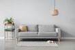 Leinwandbild Motiv modern interior of living room with cozy sofa