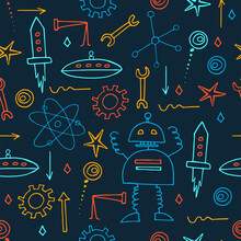 Hand Drawn Robots Seamless Pattern. Doodle Elements. School Board Background. Vector Print.