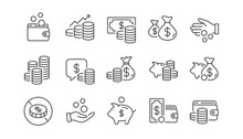 Coins Line Icons. Cash Money, Donation Coins, Give Tips Icons. Piggy Bank, Business Income, Loan. Money Savings, Give Coin, Cash Tips. Investment Profit, Financial Growth Chart. Linear Set. Vector