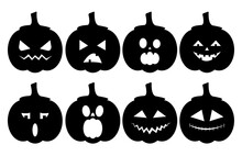 Horrible Scary Pumpkins For Halloween. Stencil. Silhouette.