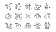 Voting Line Icons. Public Election, Vote Ballot Paper Icons. Candidate, Politics Voting And People Vote. Government Election, Raised Hands, Document Checklist. Online Poll Result. Linear Set. Vector