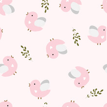 Seamless Pattern With Birds. Cute Baby Print For Design Of Fabric, Textile, Tablecloth, Bedding