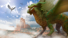 Digital Painting Of A Green Dragon Creature In A Desert Environment - Digital Fantasy Painting