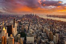 Manhattan Panorama At Sunset Aerial View, New York, United States USA
