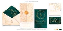 Elegant Wedding Set Green Beige Gold Design Vector Illustration