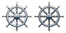 Ship Rudder Vintage Style. Ship Wheel Marine Vector Illustration.