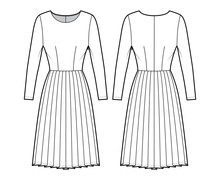 Dress Pleated Technical Fashion Illustration With Long Sleeves, Fitted Body, Knee Length Skirt. Flat Apparel Front, Back, White Color Style. Women, Men Unisex CAD Mockup