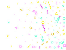 Memphis Style Geometric Confetti Background With Triangle, Circle, Square, Zigzag And Wavy Line