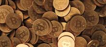 Bitcoin Crypto Currency Coins Background. BTC Gold Bitcoin Bit Coins Bitcoins. Bitcoins Mining Concept, Blockchain Money Technology. 3d Illustration.