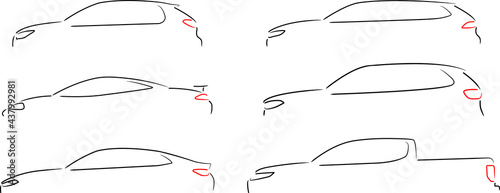 Obraz na plátně Collection of six car layouts - small car, sports car, sedan, station wagon, SUV