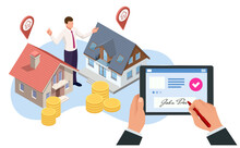 Isometric Signed Real Estate Purchase Or Lease Agreement. Buyer. Mortgage Online, New Home Buying Online. Buying, Selling Or Renting Real Estate