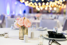 Wedding Reception Table Decorations And Flowers Close Up