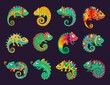 Cartoon mexican chameleons, vector lizards with ornate colorful skin, long curvy tail, tongue and telescopic eyes. Wild animal, pet, exotic tropical reptile for Cinco de Mayo or Dia de Los Muertos