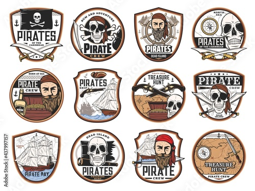 Obraz na płótnie Pirate and corsair icons with vector skulls, captains, ships, treasure map and chest