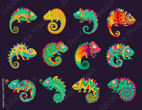 Wallpaper Mural Cartoon mexican chameleons, vector lizards with ornate colorful skin, long curvy tail, tongue and telescopic eyes