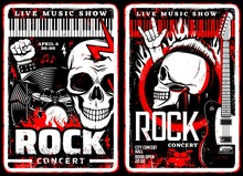 Rock Music Concert Grunge Posters Of Hard Rock Or Heavy Metal Festival. Vector Electric Guitars, Drum And Rocker Musician Skulls With Mohawk And Lightning, Vinyl Record, Piano Keyboards, Musical Notes
