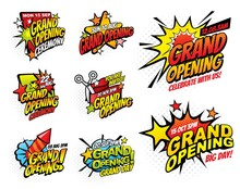 Grand Opening Halftone Comic Bubble Vector Icons. Pop Art Speech And Explosion Bubbles With Boom Clouds, Bomb Burst Stars And Firework Rocket, Ribbon And Scissors, Promotion Event Invitation Design
