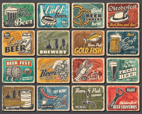 Foto Craft beer festival, brewery and snacks tin signs