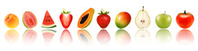 Panorama Of Fresh Fruits And Vegetables In Row With Reflection. Watermelon, Peach, Pear, Apple, Strawberry,papaya,mango, Guava, Tomato. Vector.