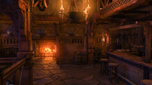 3D Rendering Of The Interior Of A Medieval Tavern Bar Lit By Candlelight And Burning Fire.