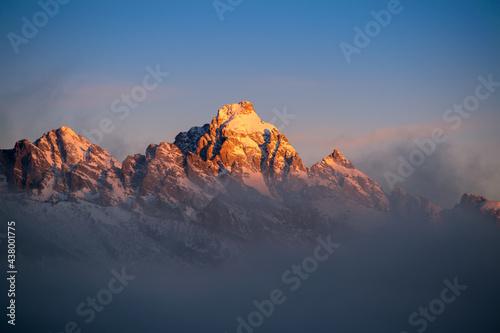Canvastavla Grand Teton Mountain Peak Sunrise