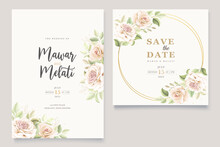 Elegant Hand Drawn Roses Invitation Card Set