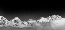 Highest Mountain Mount Everest In Himalaya Black And White Picture.