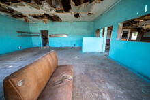 Inside An Abandoned And Decaying Restaurant Diner Along Route 66 In Glenrio Texas
