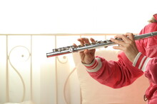 Flute Classical Instrument Player Playing Song. Instructor Flutist Practicing Bronze Woodwind For Orchestra As Solo At Home.