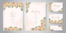 Hand Drawn Wedding Invitation Design With Beautiful Chrysanthemum Flower