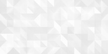Abstract Geometric Pattern Background With Large Size Triangles In White Color. Low Poly Random Tiles Texture. Modern Crystal Design.