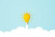 Leinwandbild Motiv Light bulb yellow moving up on sky. Concept of creative idea and innovation inspire. 3d illustration