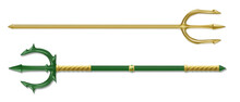 Poseidon Tridents, Marine God Neptune Weapon, Gold And Green Colored Sharp Pitchforks Decorated With Ornamental Forgery And Gems. Isolated Forks On White Background. Realistic 3d Vector Illustration