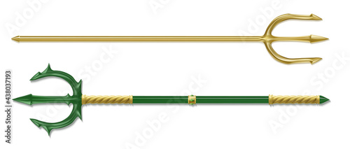 Tablou Canvas Poseidon tridents, marine God Neptune weapon, gold and green colored sharp pitchforks decorated with ornamental forgery and gems