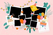 Pack Flat Birthday Collage Frames 2 Illustration And Design