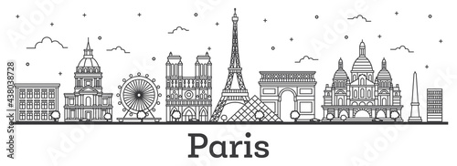 Foto Outline Paris France City Skyline With Historic Buildings Isolated White