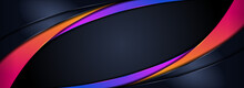 Modern Futuristic Dark Navy Background Combined With Abstract Orange And Purple Lines Element.