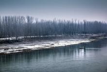 View Of Jhelum River Near Srinagar In Winter Season